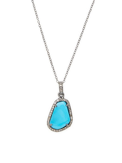 Diamond, Rose-Cut Turquoise and Silver Pendant Necklace
