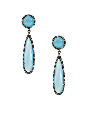 Gillian Blue Gemstone & Diamond Drop Earrings
