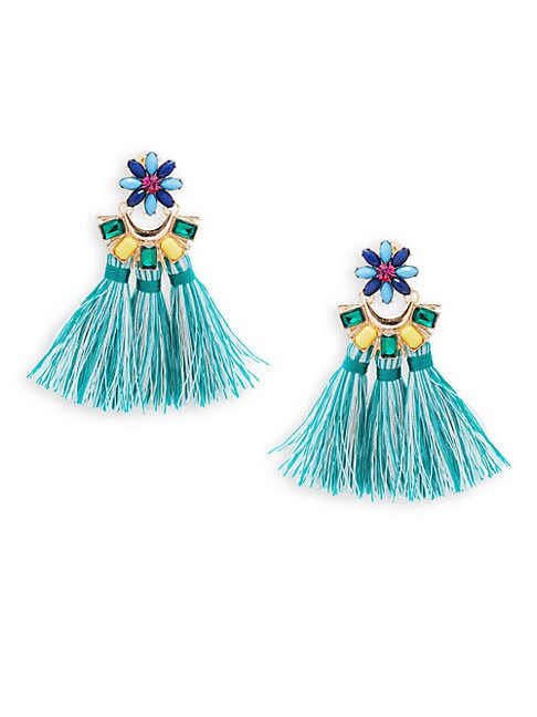 Crystal Floral Tassel Earrings