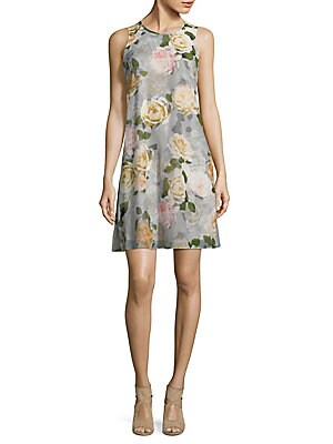 f1ce2aa505ef Calvin Klein - Floral-Print Chiffon Trapeze Dress - saksoff5th.com
