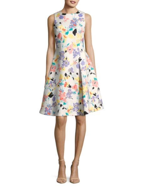 Sleeveless Floral Sheath Dress by Calvin Klein