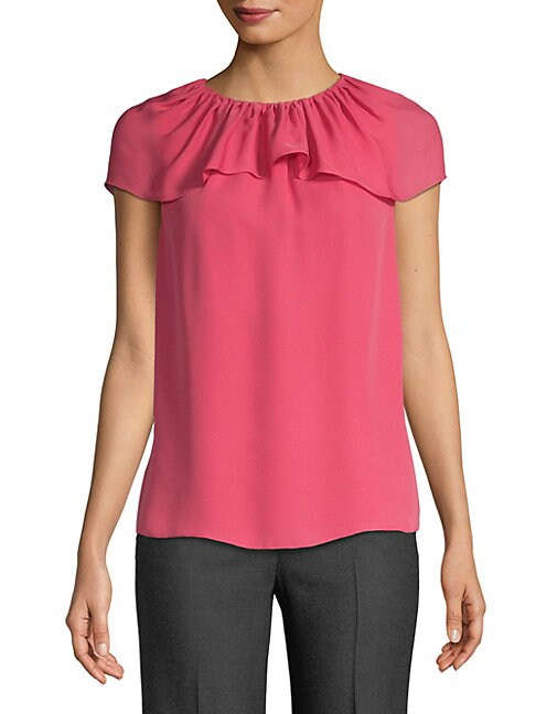 Cap-Sleeve Silk Blouse