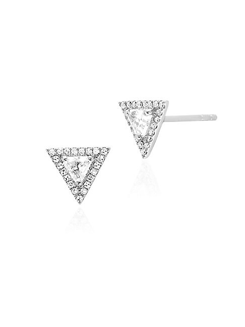 Ef Collection 14K WHITE GOLD TOPAZ & DIAMOND TRIANGLE STUD EARRINGS