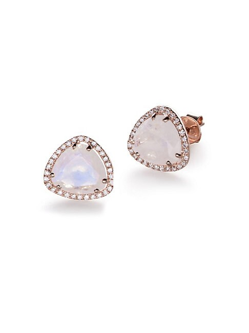 Ef Collection DIAMOND, MOONSTONE AND 14K ROSE GOLD SLICE STUD EARRINGS