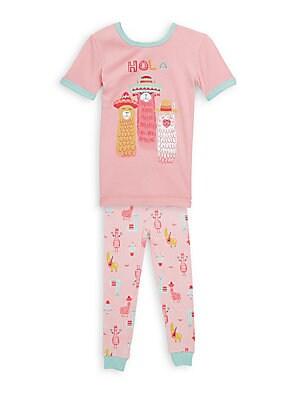 Little Girls TwoPiece Hola Llama Pajama Set