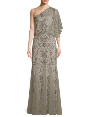ADRIANNA PAPELL BEADED ONE-SHOULDER BLOUSON GOWN, PLATINUM   ModeSens