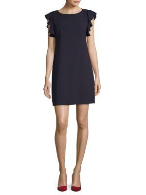 T Tahari Tindra Ruffle-Sleeve Shift Dress