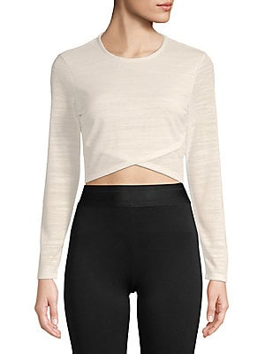 PLENTY BY TRACY REESE Long-Sleeve Cropped Top in White