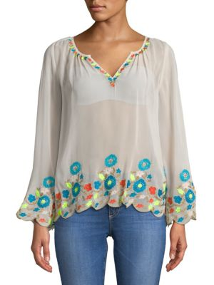 PLENTY BY TRACY REESE Border Embroidered Peasant Top in Optic White