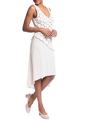 PLENTY BY TRACY REESE Lace Combo Dress in Optic White
