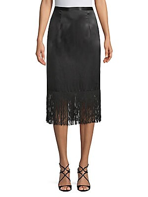 TRACY REESE Fringed Silk Skirt in Black
