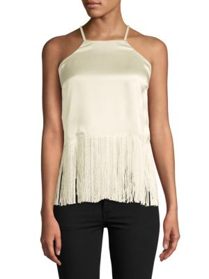 PLENTY BY TRACY REESE Fringed Silk Halter Top in Milk