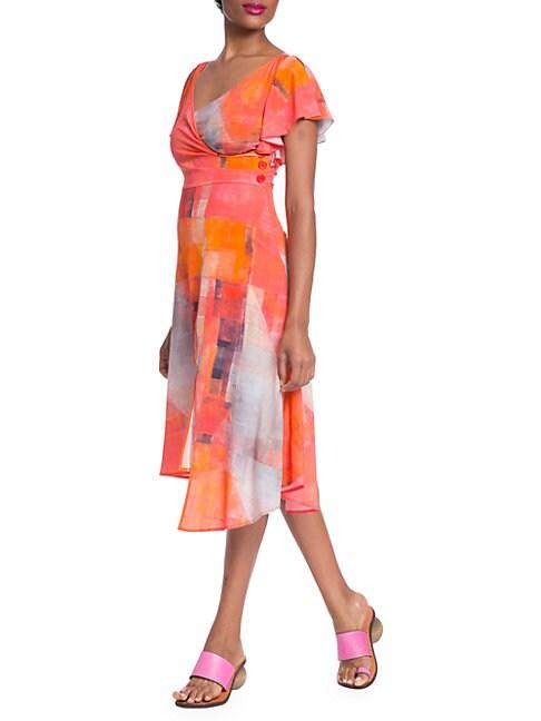 Tracy Reese SIDE-BUTTON ASYMMETRICAL SURPLICE DRESS