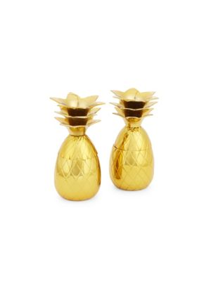 W & P DESIGN Set Of Two Pineapple Shot Glasses in Gold