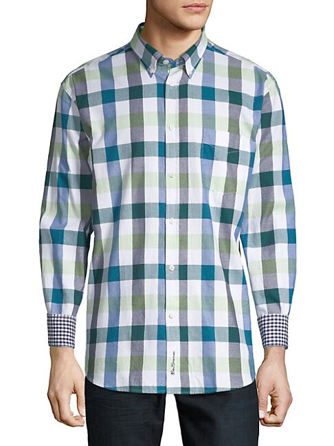 Buffalo Check Long-Sleeve Cotton Button-Down Shirt