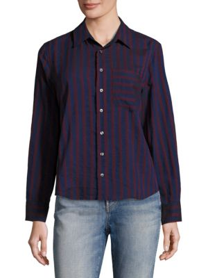 Amo Ruffled-Back Striped Shirt
