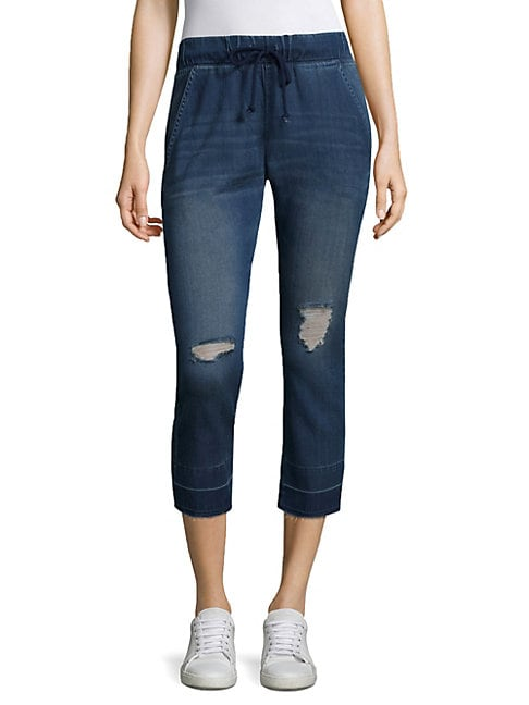 Ripped Cropped Drawstring Jeans
