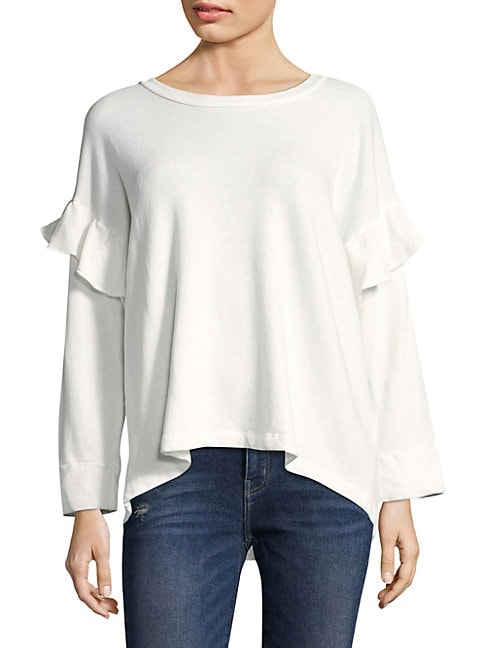 Cotton Ruffled Sweatshirt