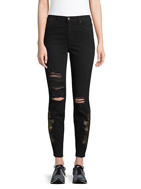 High-Rise Embroidered Ankle Jeans