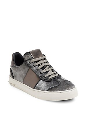 FLY CREW CALF HAIR & LEATHER SNEAKERS