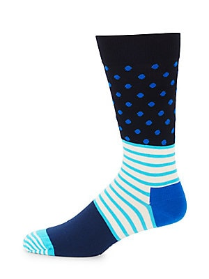 Striped Dotted Crew Socks
