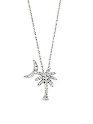 White Gold & Diamond Palm Tree Pendant Necklace