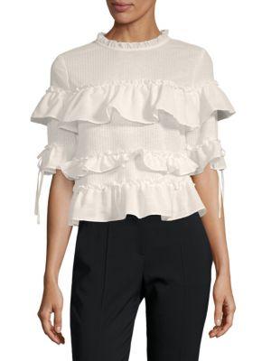 Ruffled Short-Sleeve Top, White