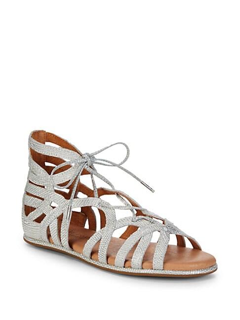Break My Heart Metallic Woven Sandals