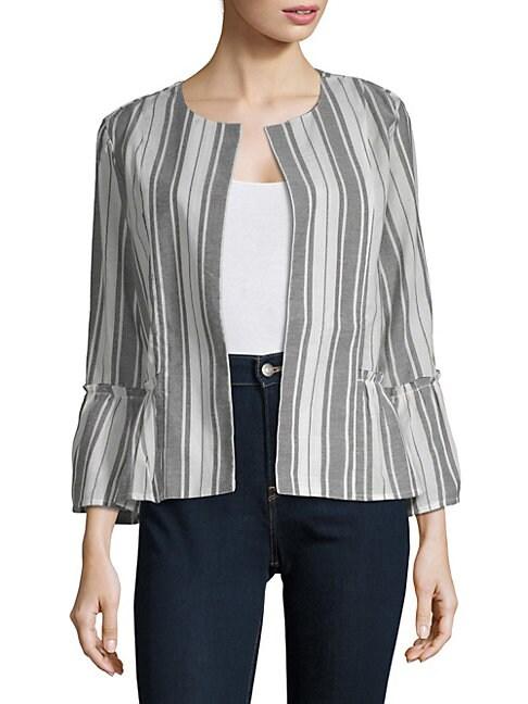 AUGUST SILK | Open Front Long-Sleeve Cotton Jacket | Goxip