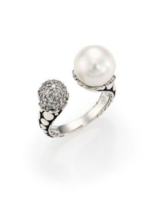 John Hardy Dot 11MM White Pearl, Diamond & Sterling Silver Wrap Ring