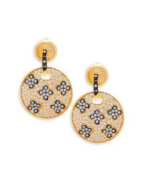 Freida Rothman Pav Eacute Crystal And Sterling Silver Clover Disc Drop Earrings