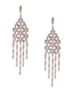 PavÉ Floral Chandlier Drop Earrings in Silver