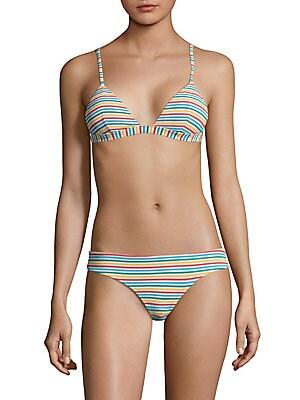 Danni Stripe Triangle Seersucker Bikini Top