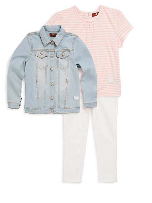 LITTLE GIRL'S THREE-PIECE DENIM JACKET, STRIPE TEE AND CLASSIC JEANS SET