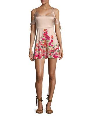 Lpa Floral-Print Cold-Shoulder Dress