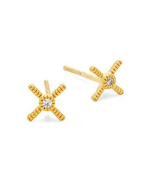 Crystal and Sterling Silver Crisscross Stud Earrings