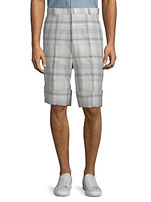Plaid High-Waist Shorts