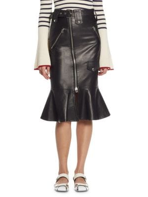 Each X Other Flared Leather Biker Skirt