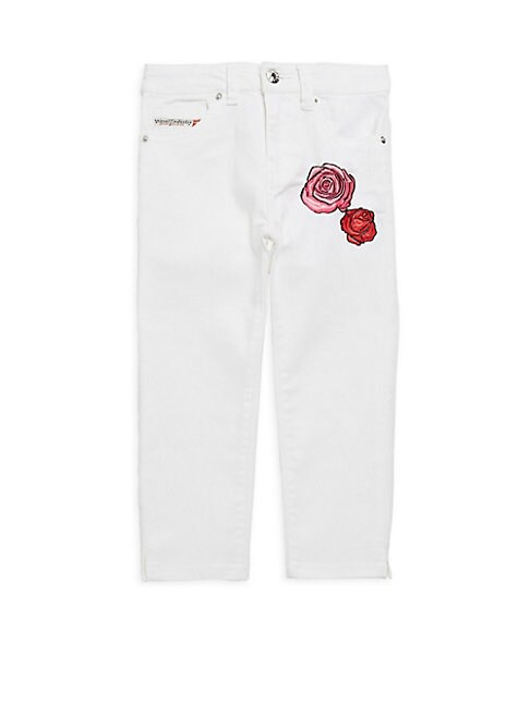 Girl's Embroidered Floral Jeans