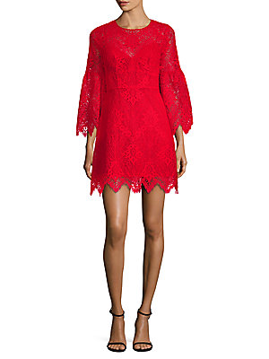 Lace A-Line Bell-Sleeve Dress