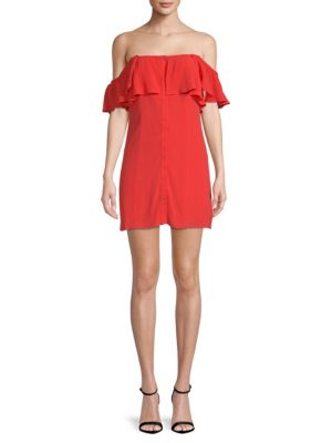 PRIVACY PLEASE Norval Off-The-Shoulder Dress in Red