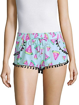 Watermelon-Print Pom-Pom Shorts