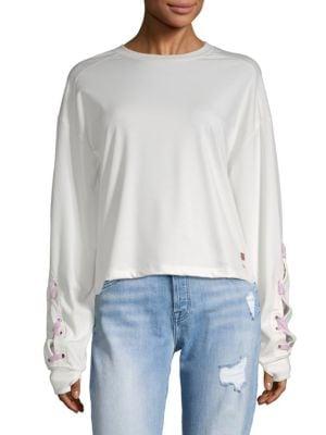 PEACE LOVE WORLD Grl Pwr Lace-Up Sweatshirt in Pristine