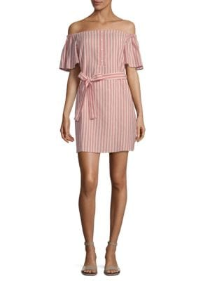 COLLECTIVE CONCEPTS Striped Tie Waist Mini Dress in Coral