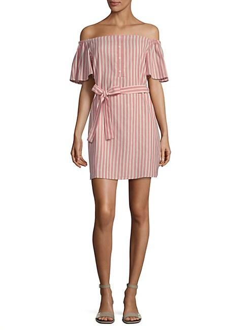 COLLECTIVE CONCEPTS | Striped Tie Waist Mini Dress | Goxip