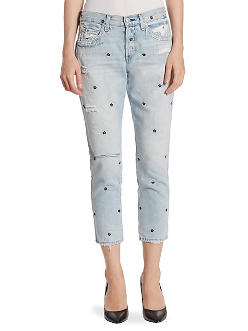 Tomboy Cropped Floral-Embroidered Jeans