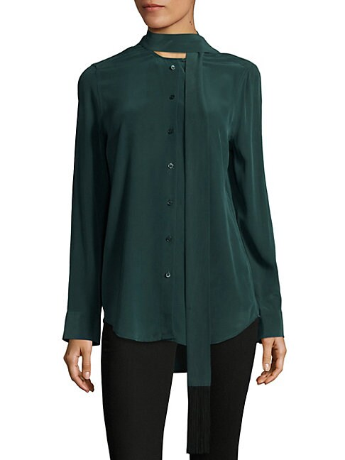 Essential Tie-Neck Silk Blouse