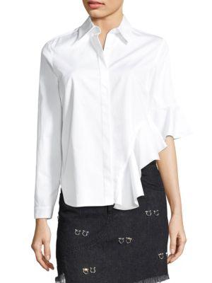 Sandy Liang Gemini Side-Ruffle Cotton Top