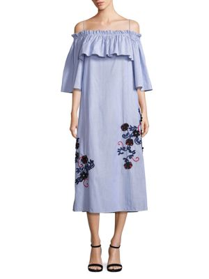 Suno Embroidered Off-Shoulder Pinstripe Dress