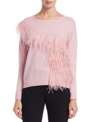 Scripted Feather Trim Sweater